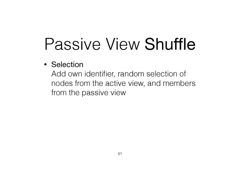 Passive View Shuffle • Selection Add own identifi...
