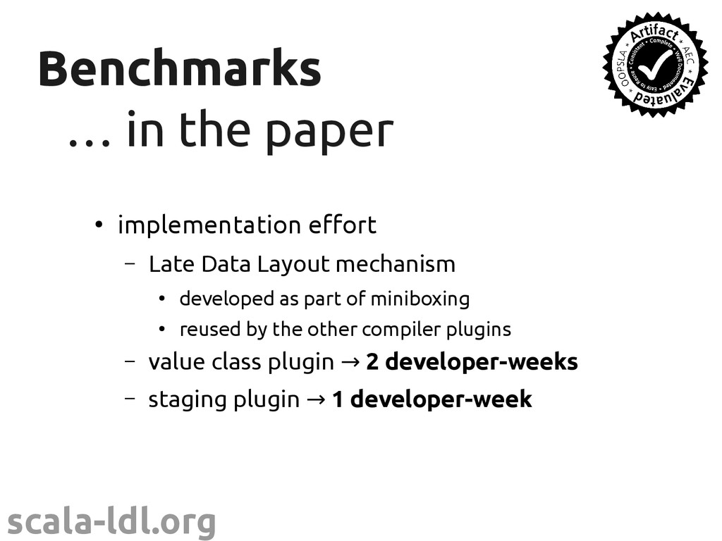 scala-ldl.org Benchmarks Benchmarks … … in the ...