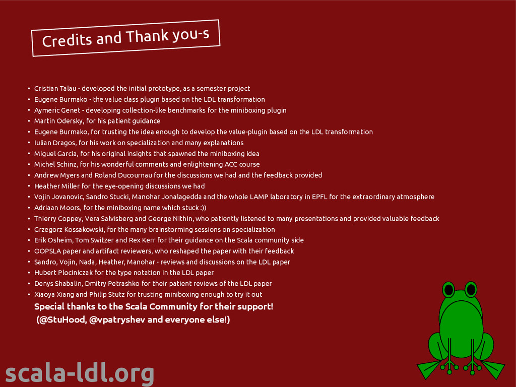 scala-ldl.org Credits and Thank you-s ● Cristia...
