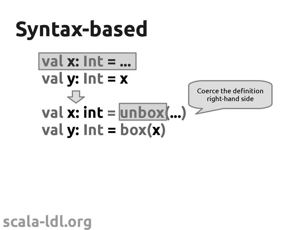 scala-ldl.org Syntax-based Syntax-based val x: ...