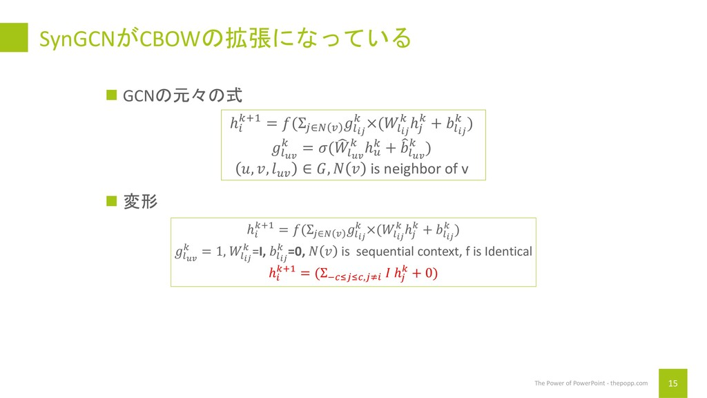 SynGCNがCBOWの拡張になっている 15 The Power of PowerPoint...