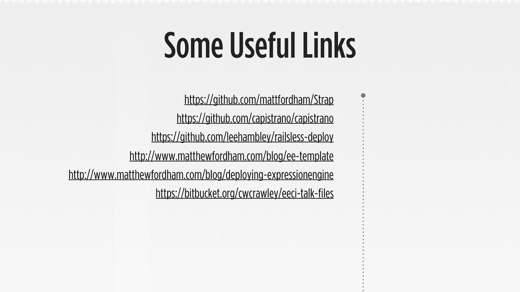 Some Useful Links https://github.com/mattfordha...