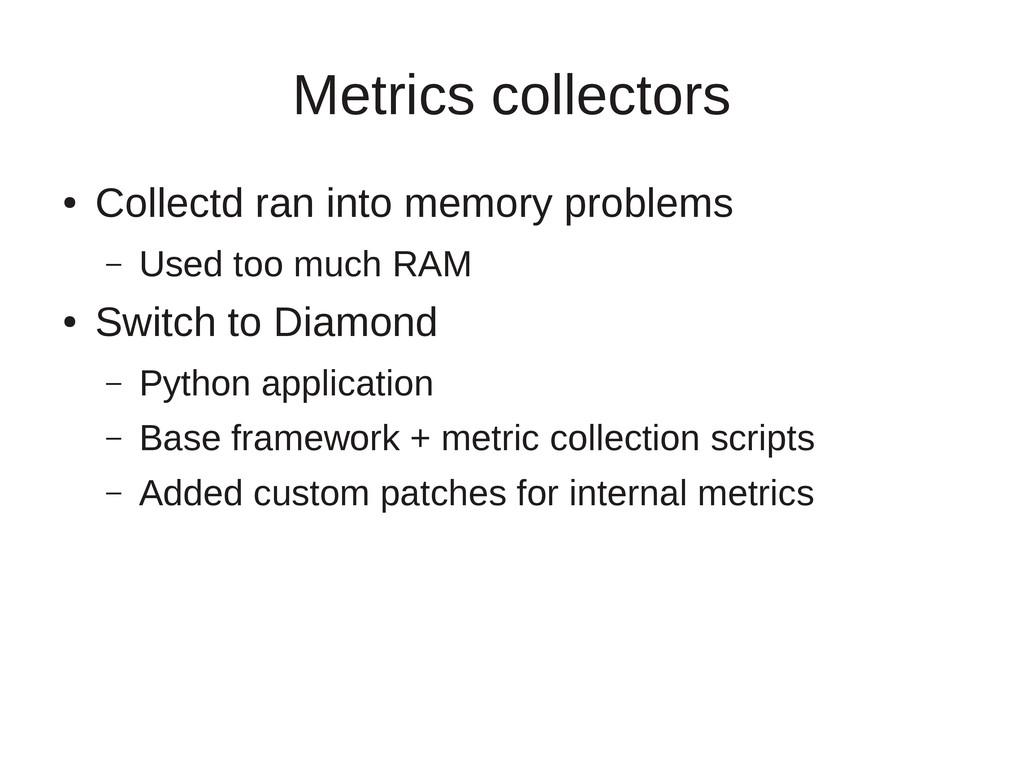 Metrics collectors ● Collectd ran into memory p...