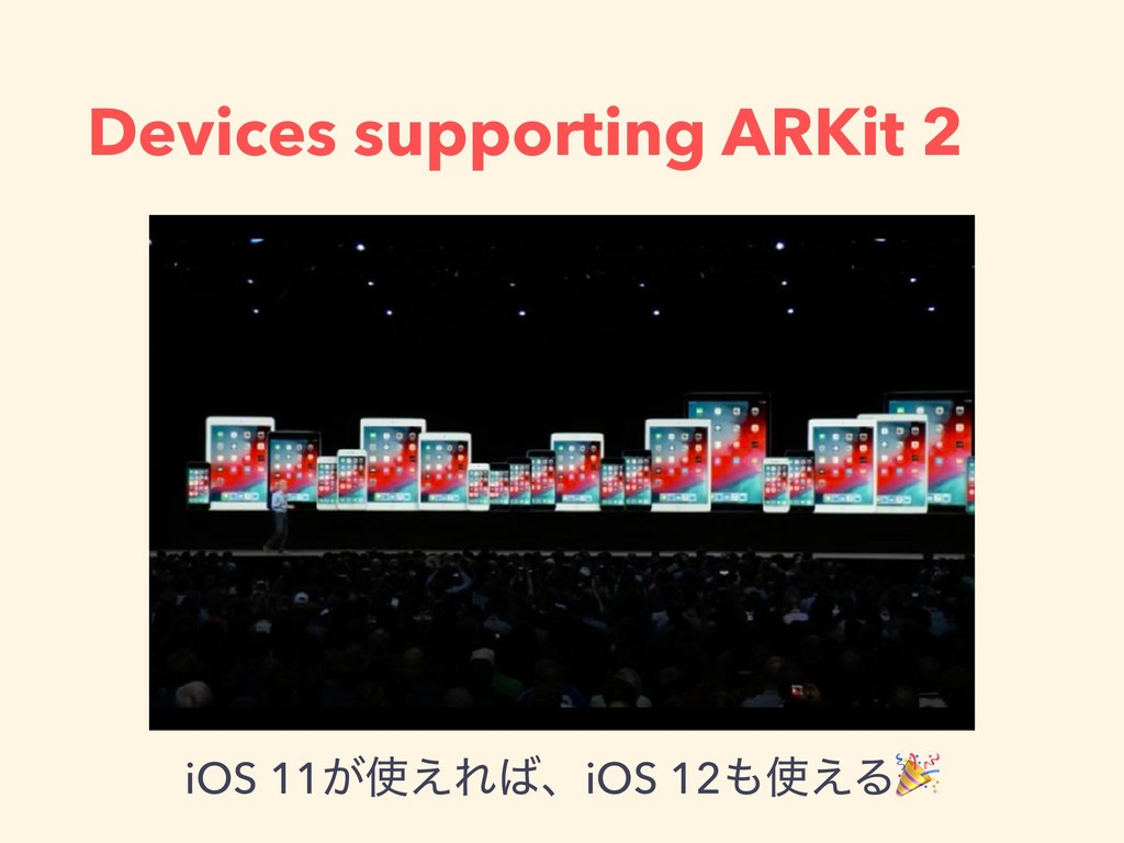Devices supporting ARKit 2 iOS 11͕࢖͑Ε͹ɺiOS 12΋࢖...