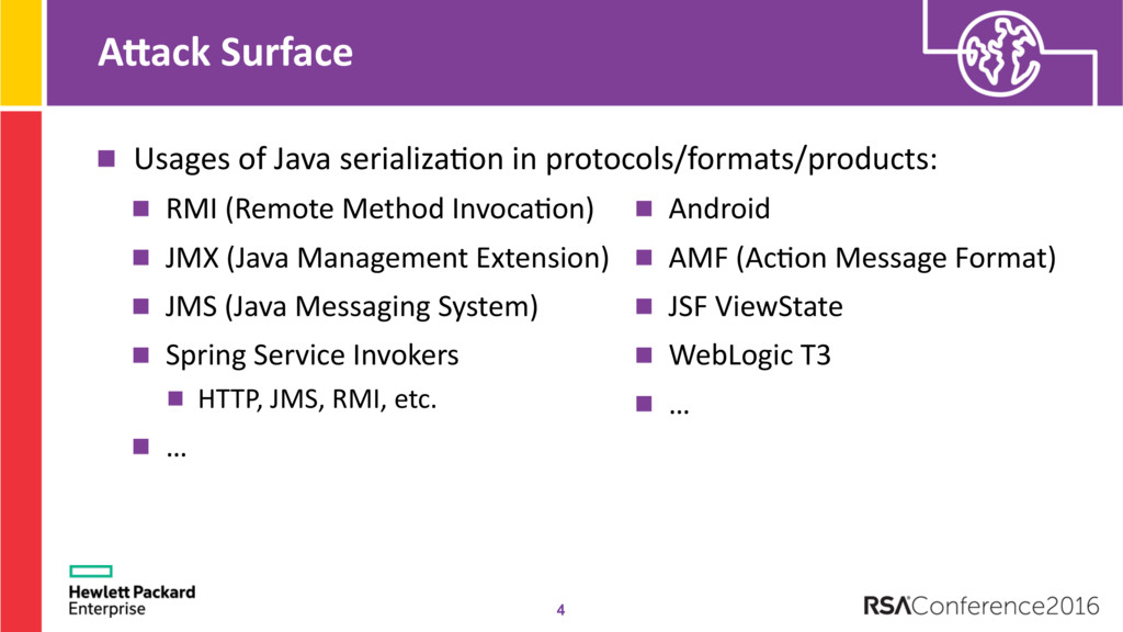 AMack Surface Usages of Java serializa@on in pr...