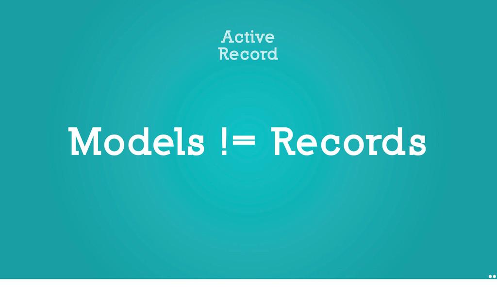 Models != Records Active Record