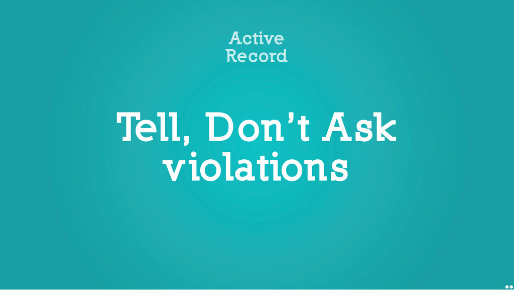 Tell, Don't Ask violations Active Record 1 unle...