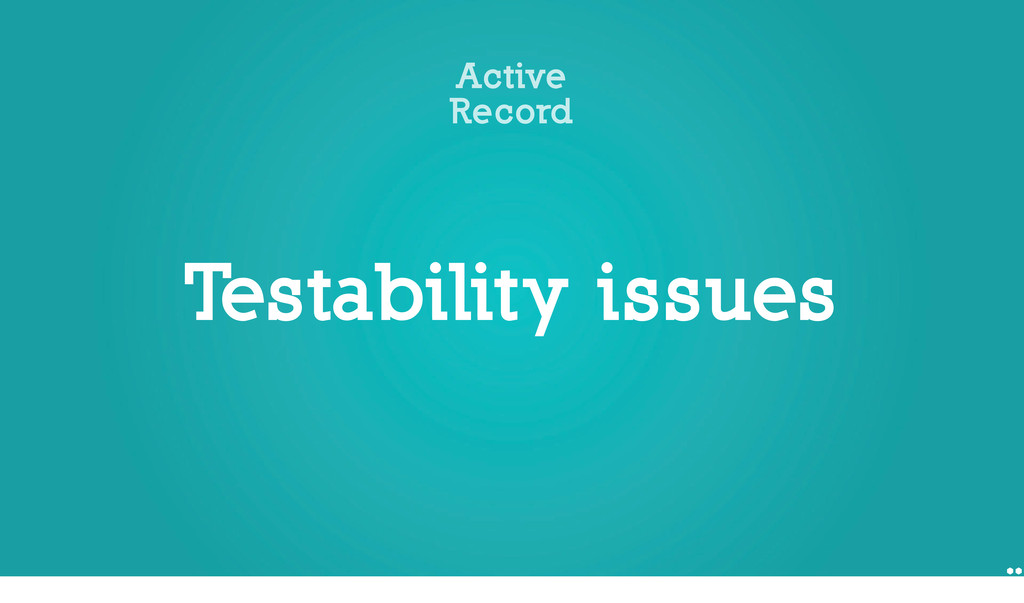 Testability issues Active Record Micheal Feathe...