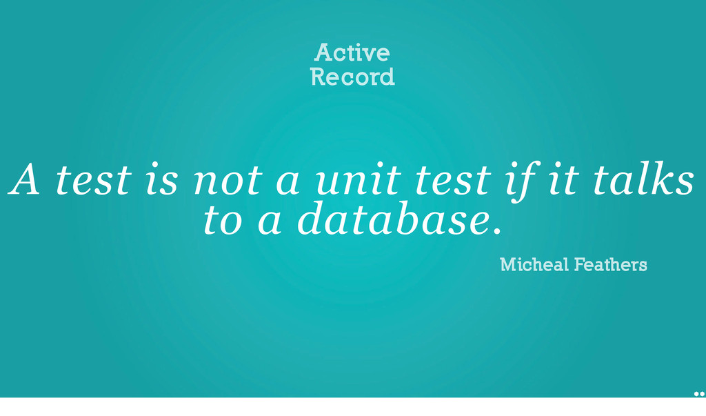 Testability issues Active Record A test is not ...