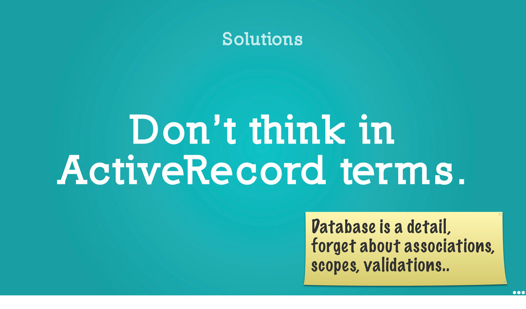 Don't think in ActiveRecord terms. Solutions Da...