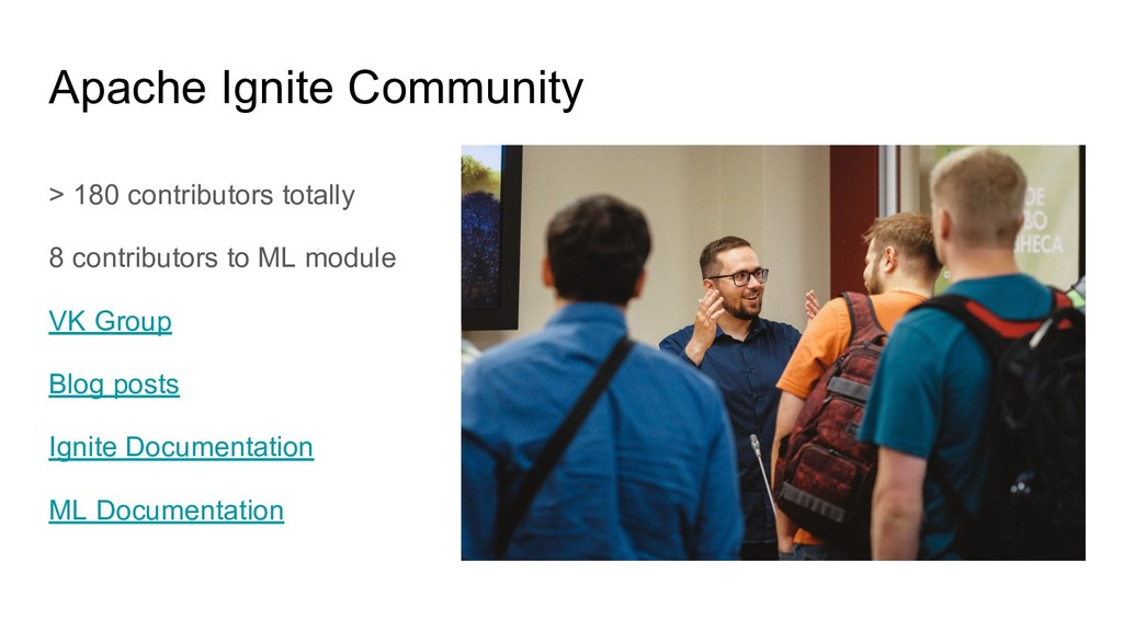 > 180 contributors totally 8 contributors to ML...