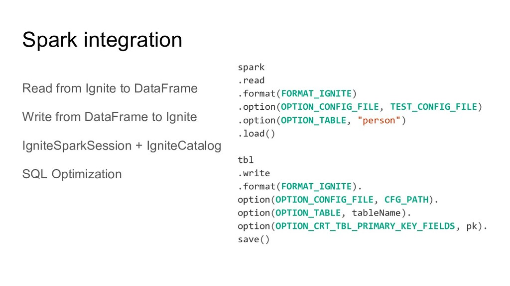 Read from Ignite to DataFrame Write from DataFr...