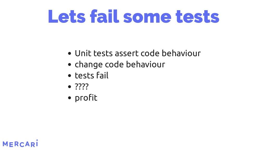 Unit tests assert code behaviour change code be...