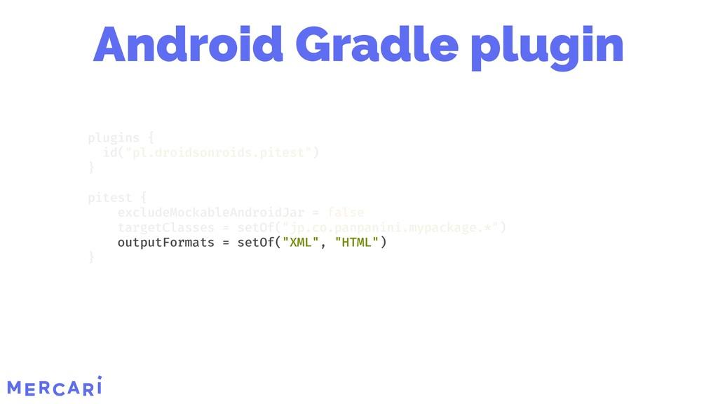 "outputFormats = setOf(""XML"", ""HTML"") plugins { ..."