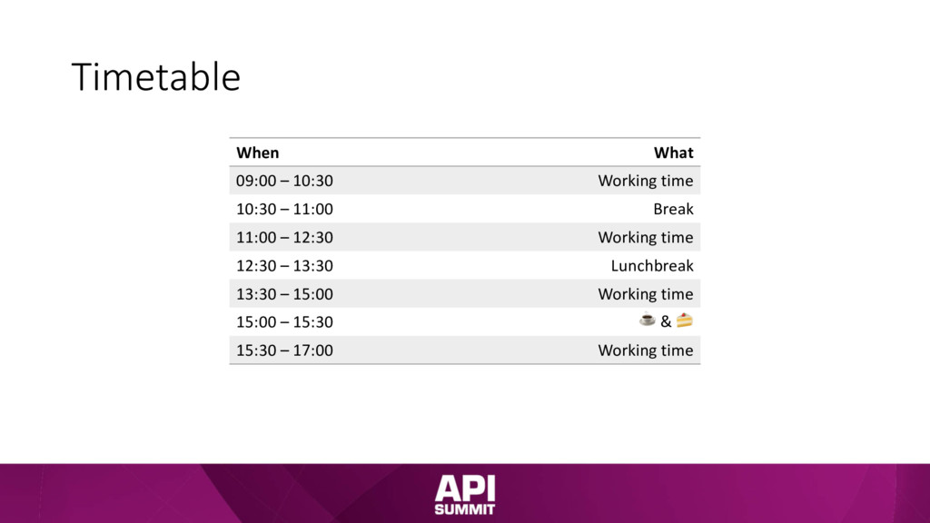 Timetable When What 09:00 – 10:30 Working time ...