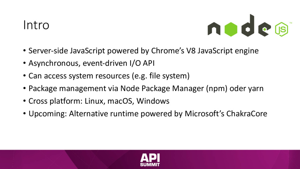Intro • Server-side JavaScript powered by Chrom...