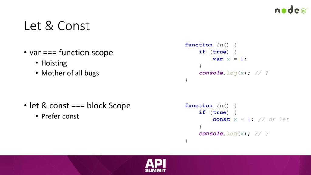 Let & Const • var === function scope • Hoisting...