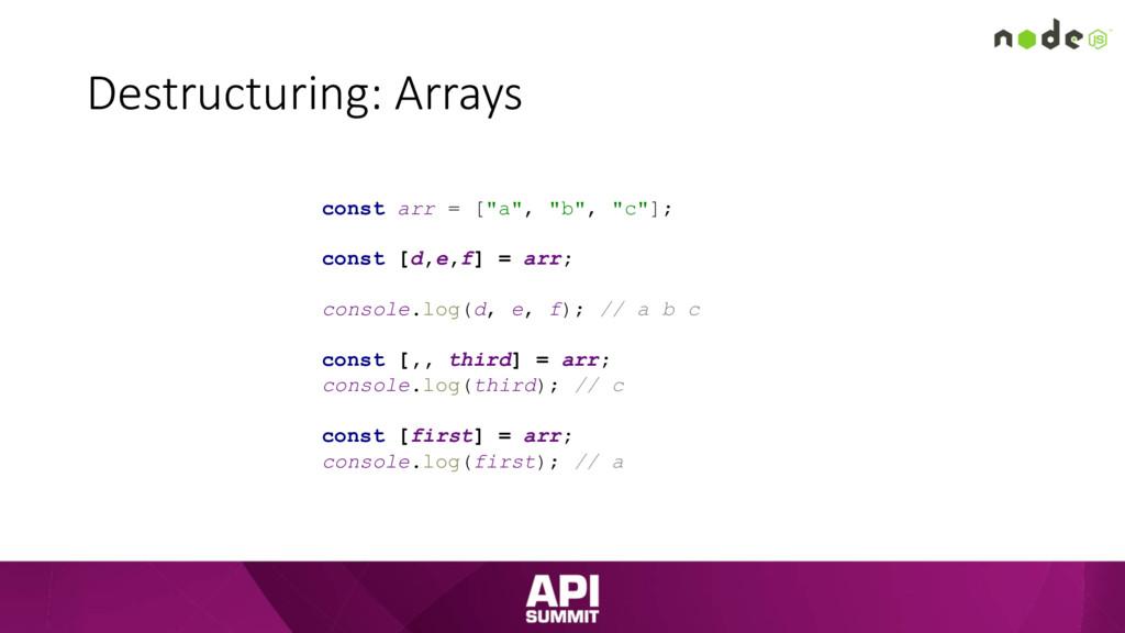 """Destructuring: Arrays const arr = [""""a"""", """"b"""", """"c..."""