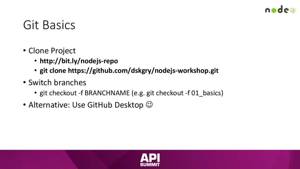 Git Basics • Clone Project • http://bit.ly/node...