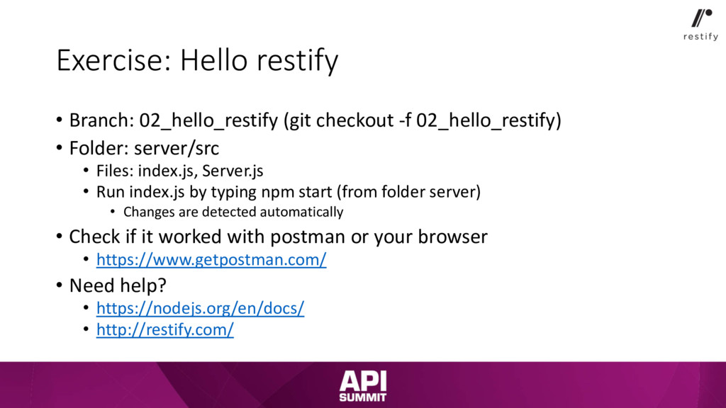 Exercise: Hello restify • Branch: 02_hello_rest...