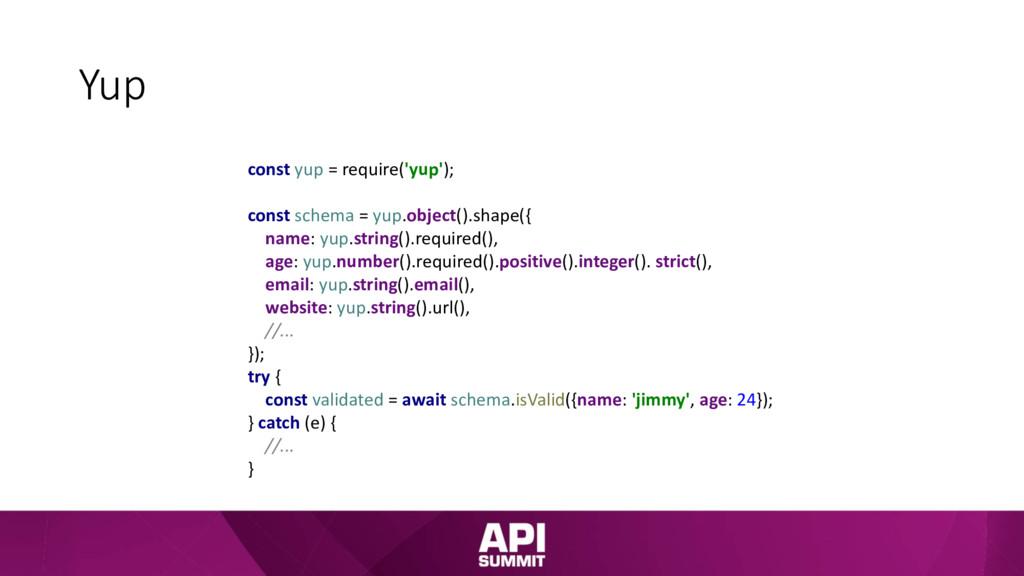 Yup const yup = require('yup'); const schema = ...