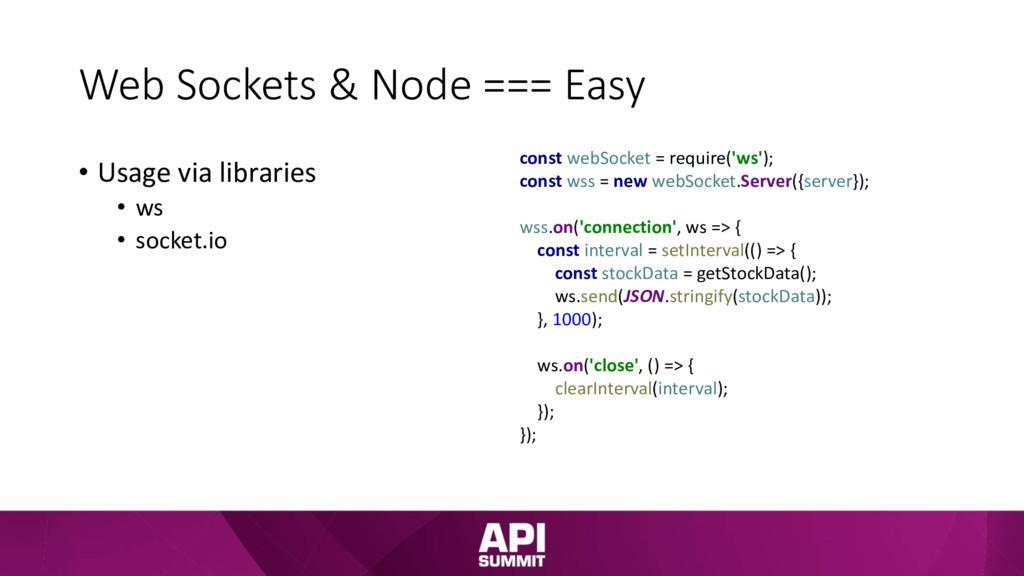 Web Sockets & Node === Easy • Usage via librari...