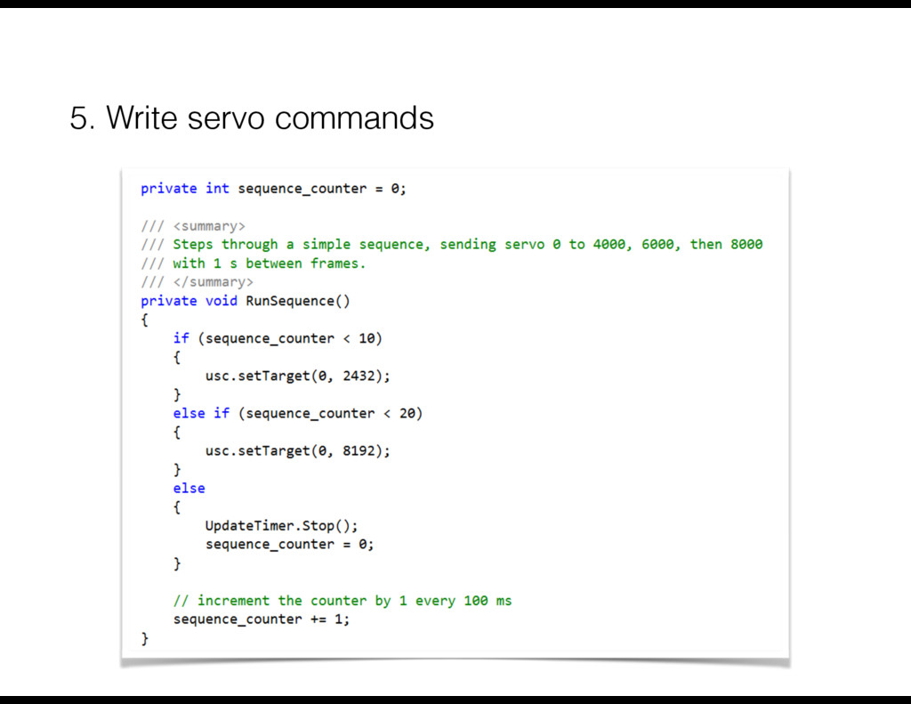 5. Write servo commands
