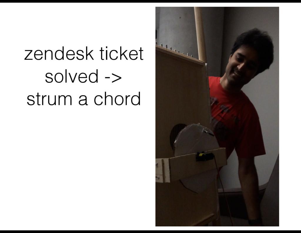 zendesk ticket solved -> strum a chord