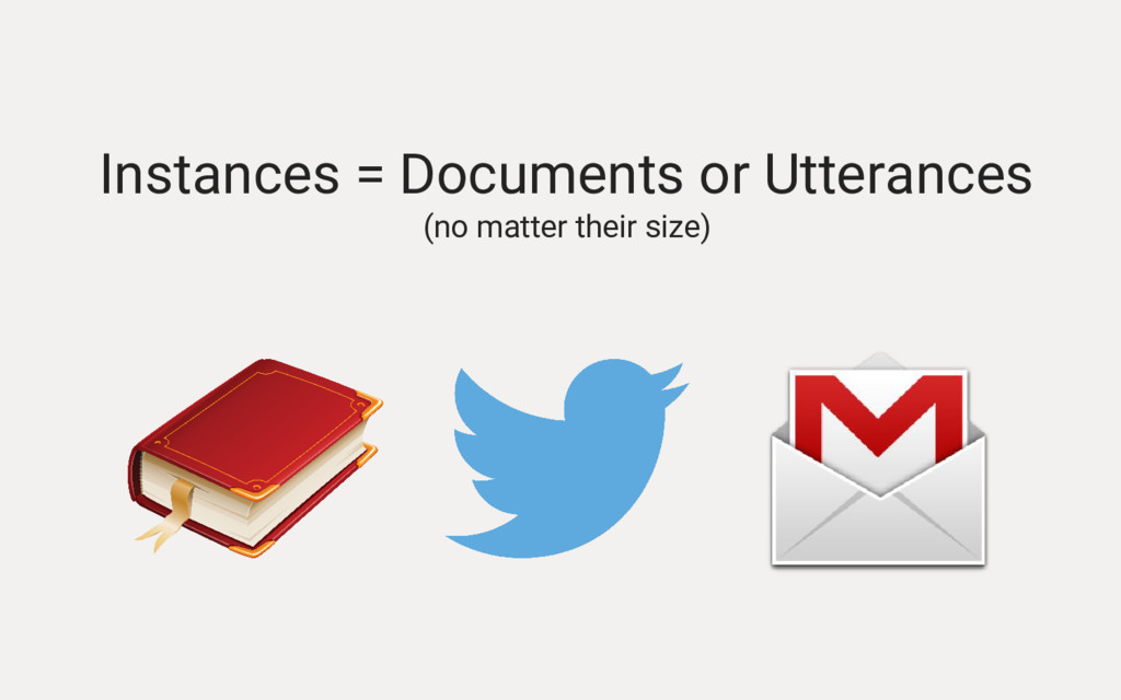 Instances = Documents or Utterances (no matter ...