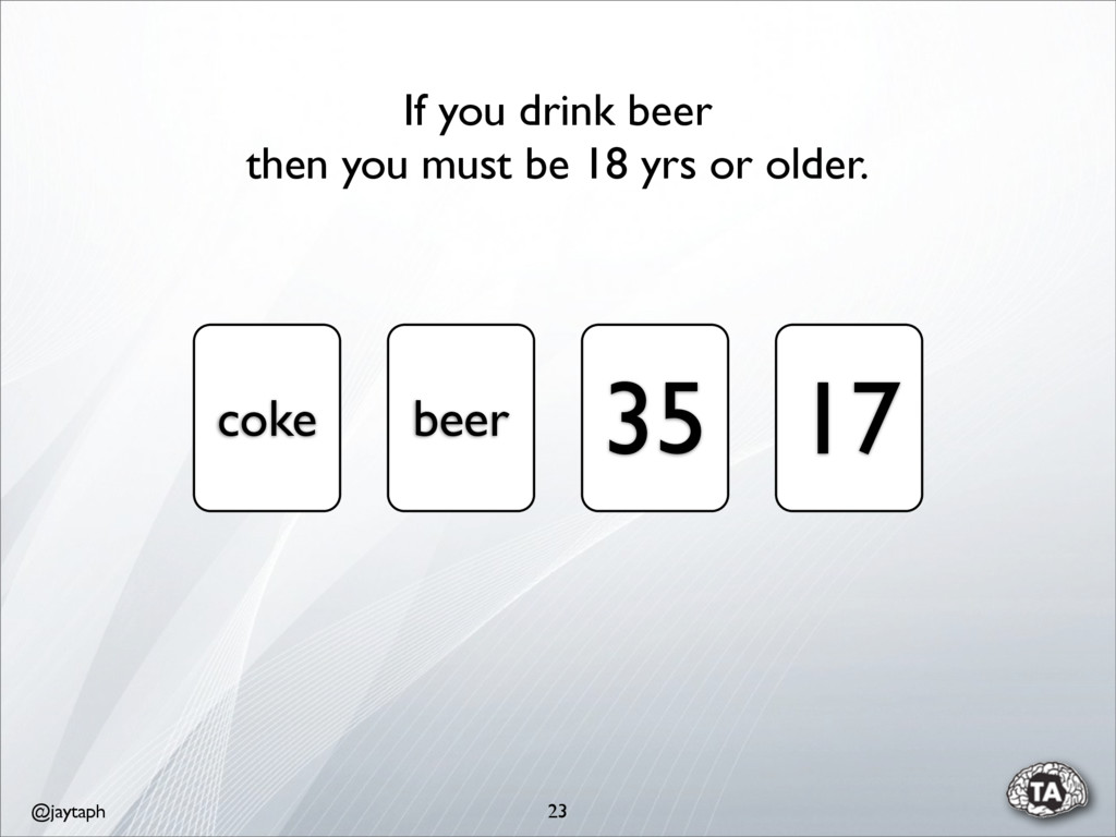 @jaytaph 23 coke beer 35 17 If you drink beer t...
