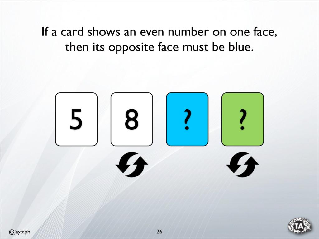 @jaytaph 26 5 8 ? ? If a card shows an even num...