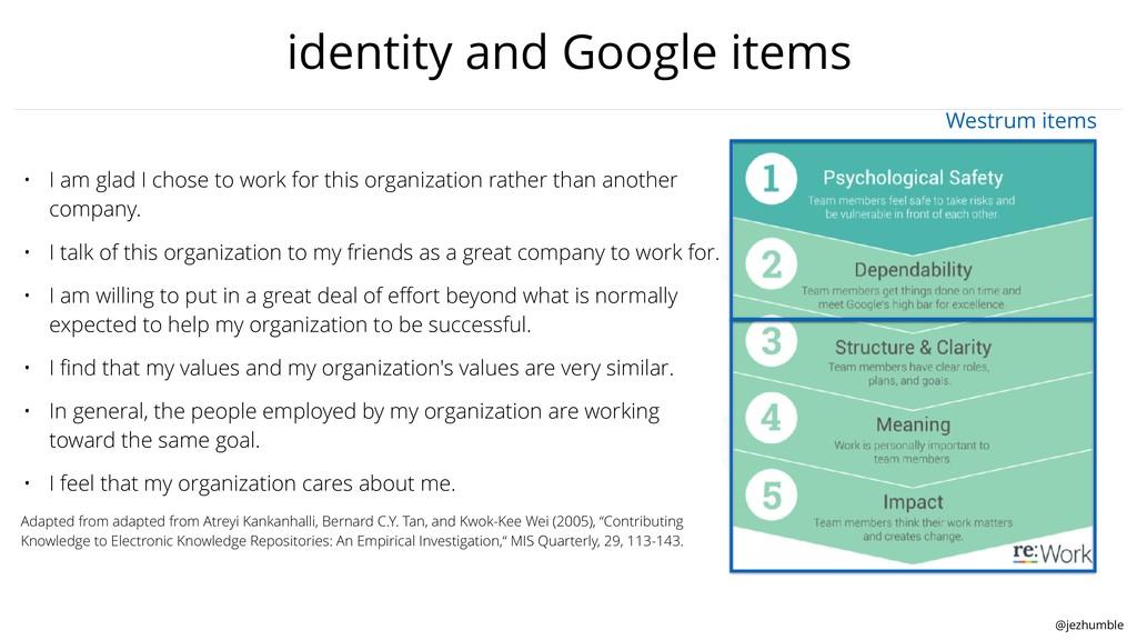 @jezhumble identity and Google items • I am gla...
