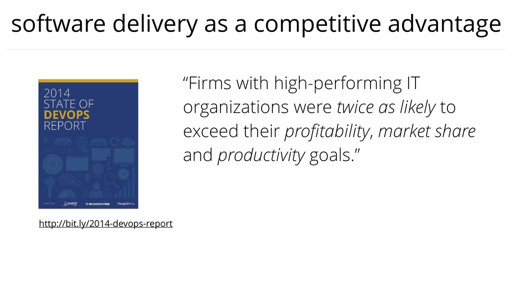"""software delivery as a competitive advantage """"F..."""