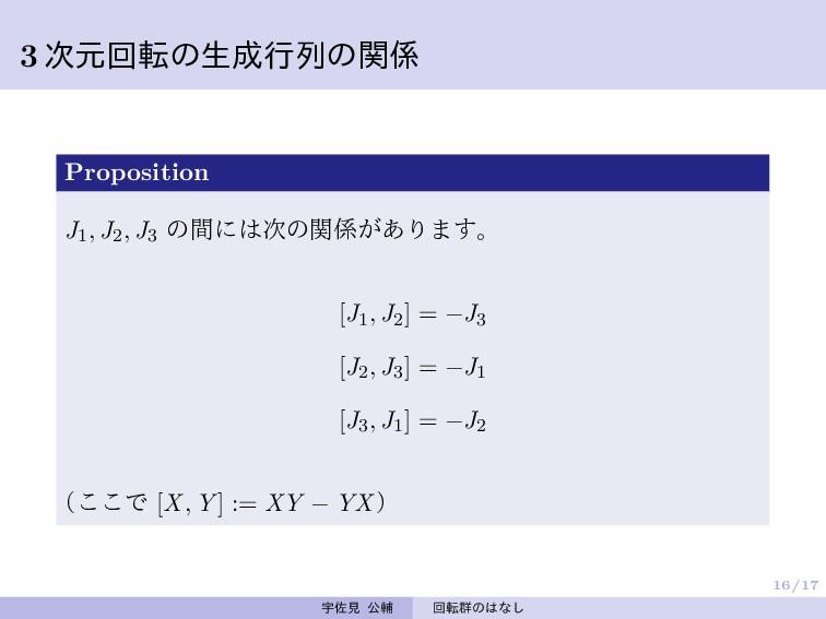 16/17 3 次元回転の生成行列の関係 Proposition J1, J2, J3 の間に...