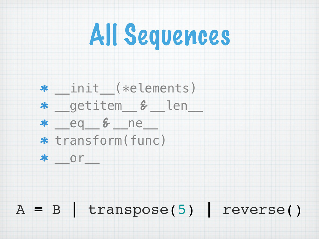 All Sequences __init__(*elements) __getitem__ &...