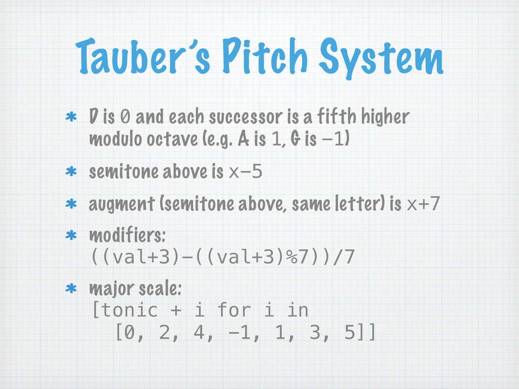 Tauber's Pitch System D is 0 and each successor...