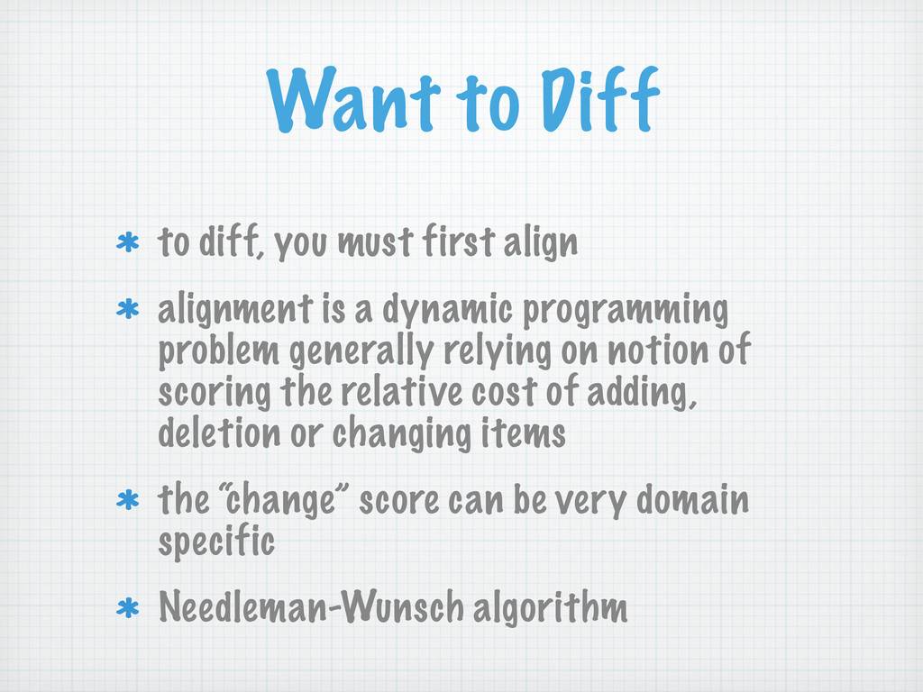 Want to Diff to diff, you must first align alig...