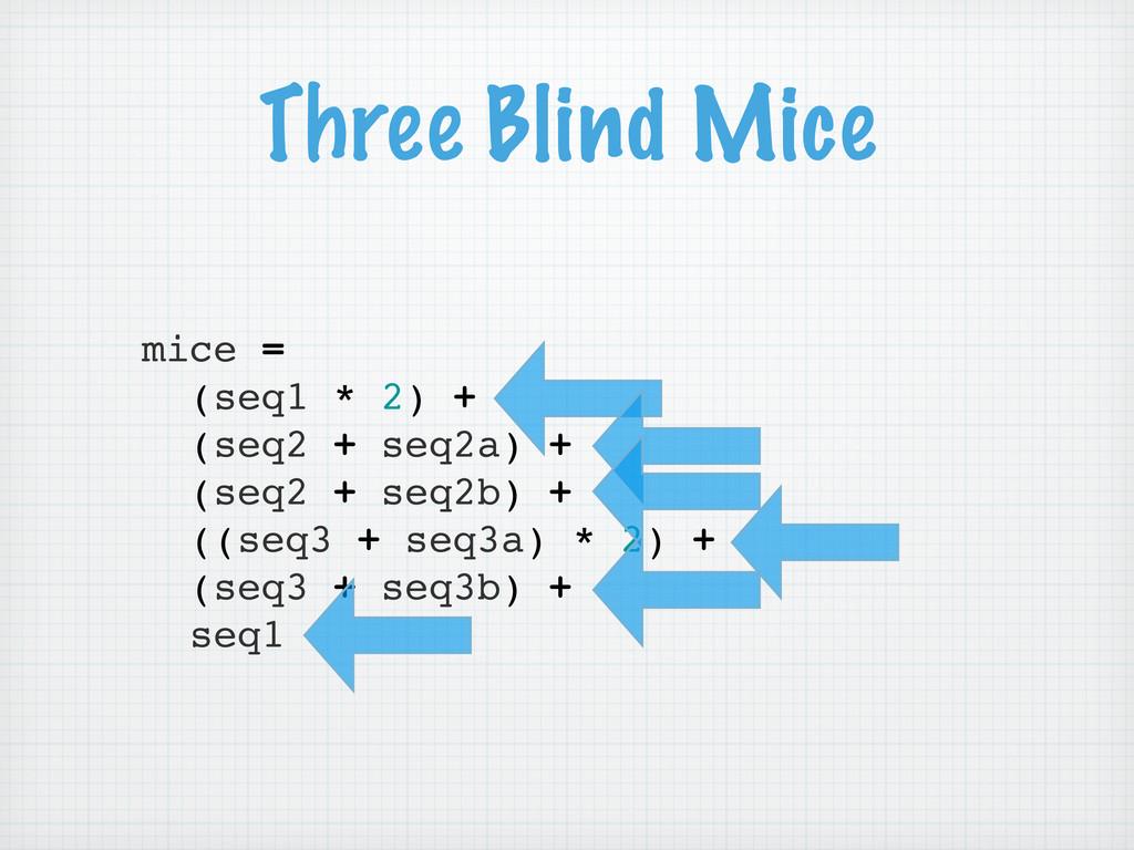 Three Blind Mice mice = (seq1 * 2) + (seq2 + se...