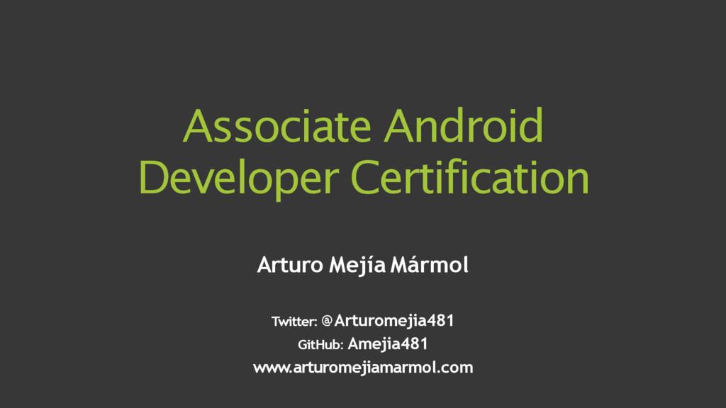 Associate Android Developer Certification Artur...