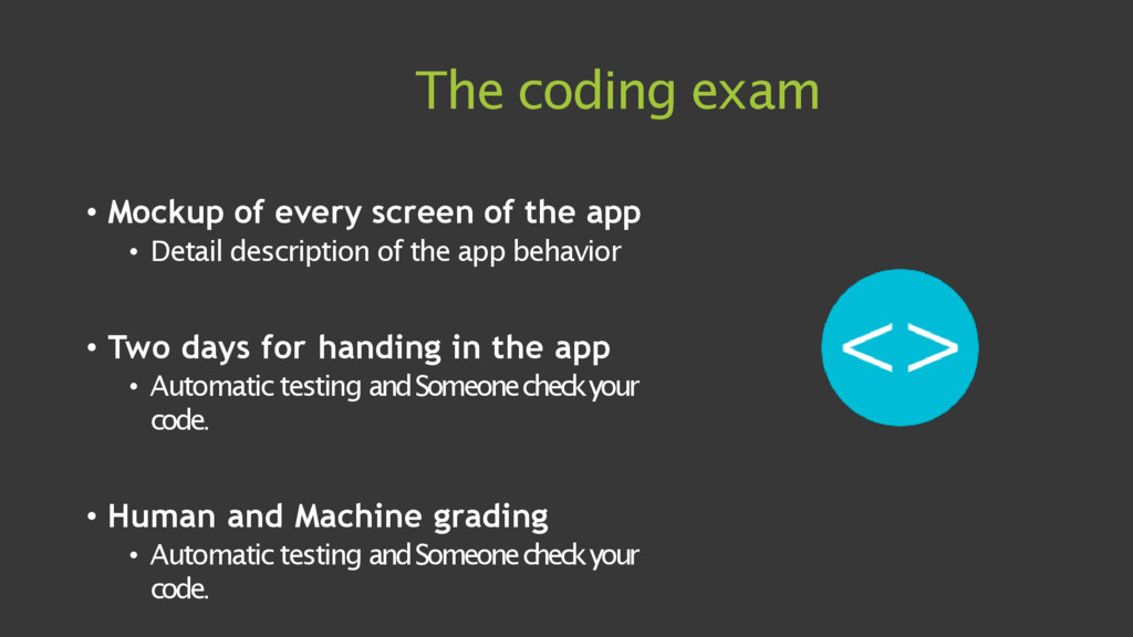 The coding exam • Mockup of every screen of the...
