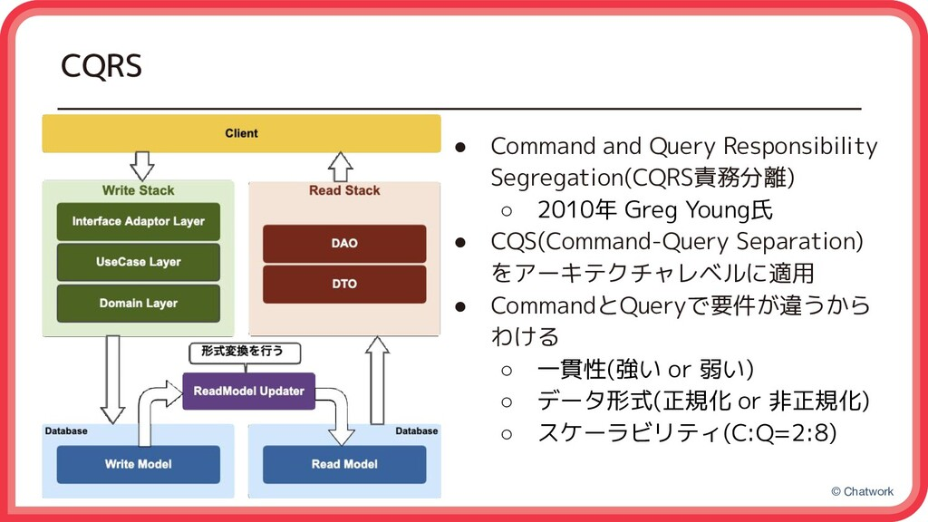 © Chatwork CQRS ● Command and Query Responsibil...