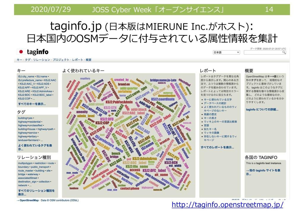 2020/07/29 JOSS Cyber Week「オープンサイエンス」 14 taginf...