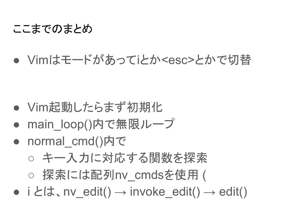 ここまでのまとめ ● Vimはモードがあってiとか<esc>とかで切替 ● Vim起動したらま...