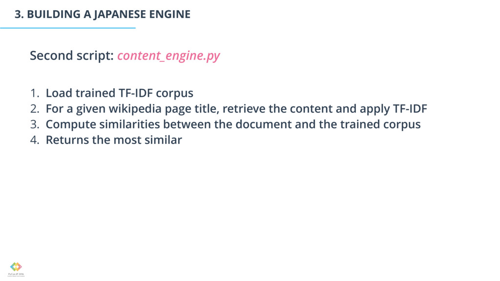 3. BUILDING A JAPANESE ENGINE 1. Load trained T...