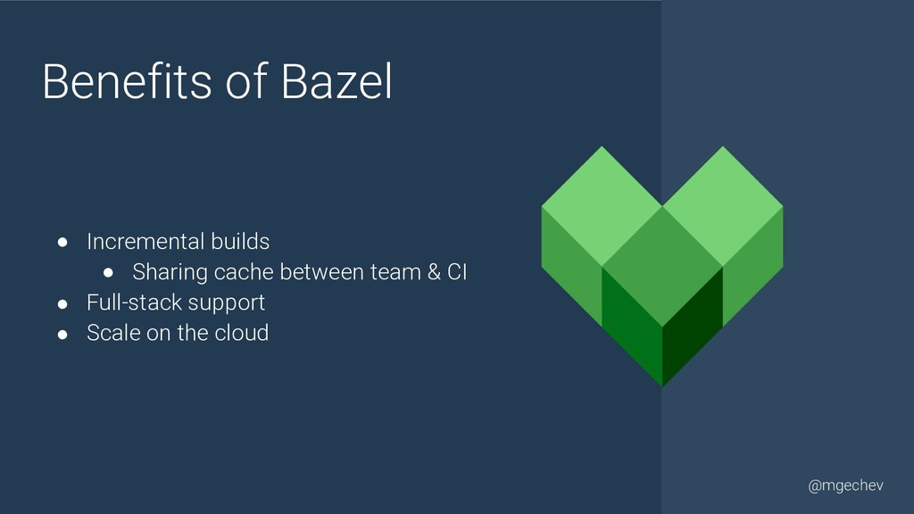 @yourtwitter @mgechev Benefits of Bazel ● Incre...