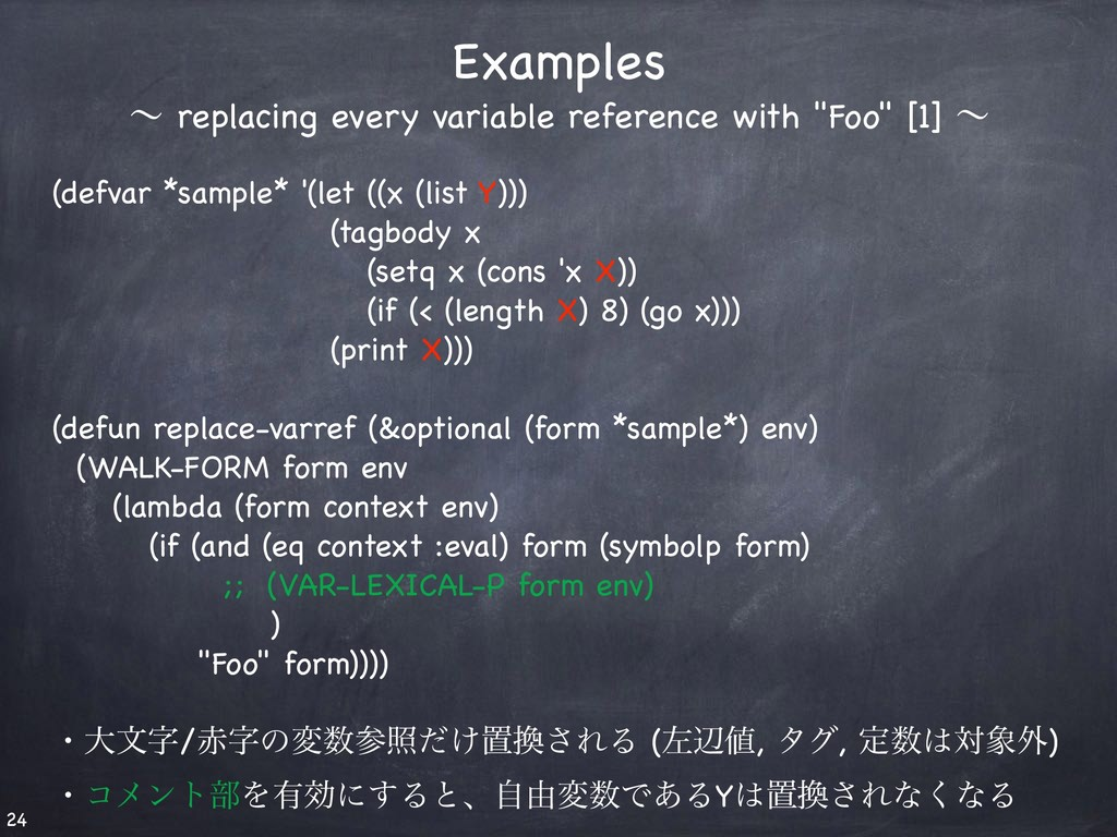 (defvar *sample* '(let ((x (list Y))) (tagbo...