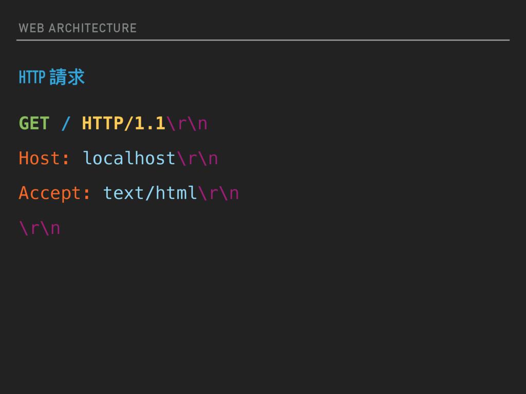 WEB ARCHITECTURE HTTP 藶穩 GET / HTTP/1.1\r\n Hos...