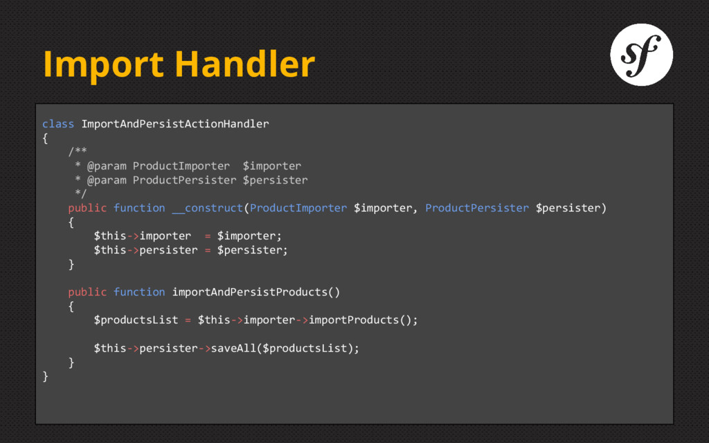 Import Handler class ImportAndPersistActionHand...