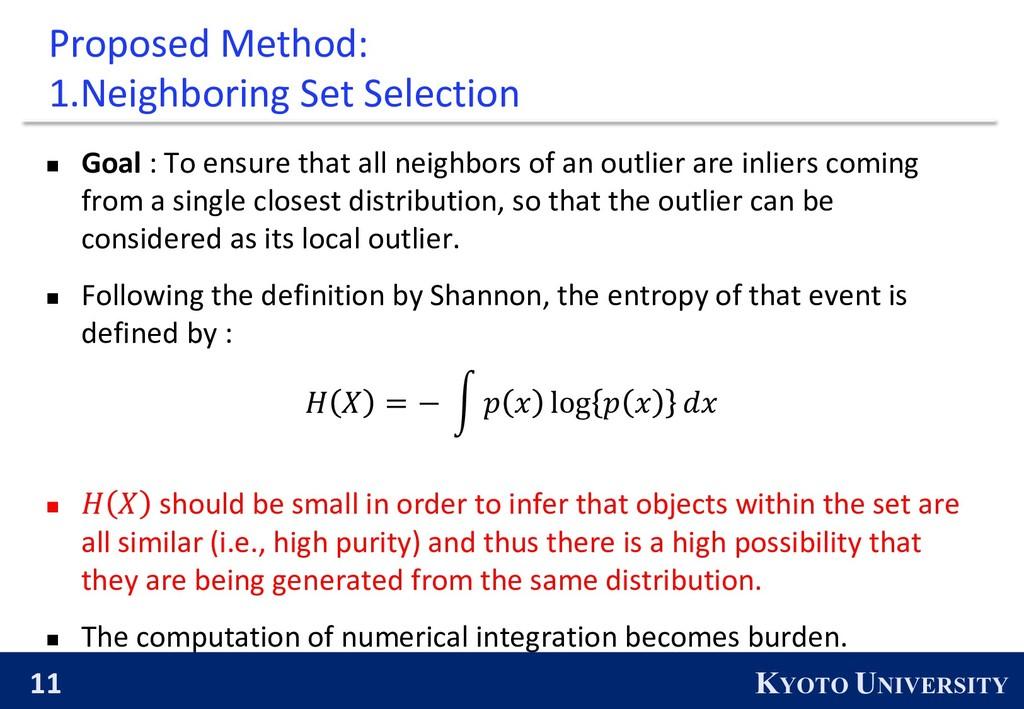 11 KYOTO UNIVERSITY Proposed Method: 1.Neighbor...