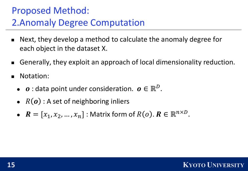 15 KYOTO UNIVERSITY Proposed Method: 2.Anomaly ...